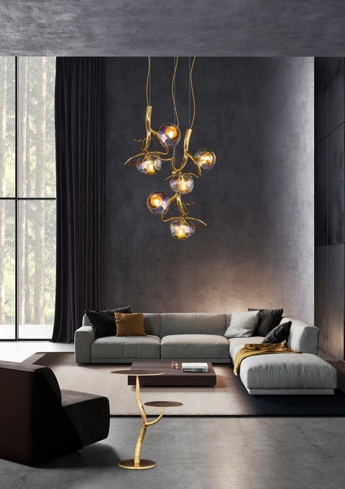 Bombillas Eras Collection chandelier brass burnished finish interior