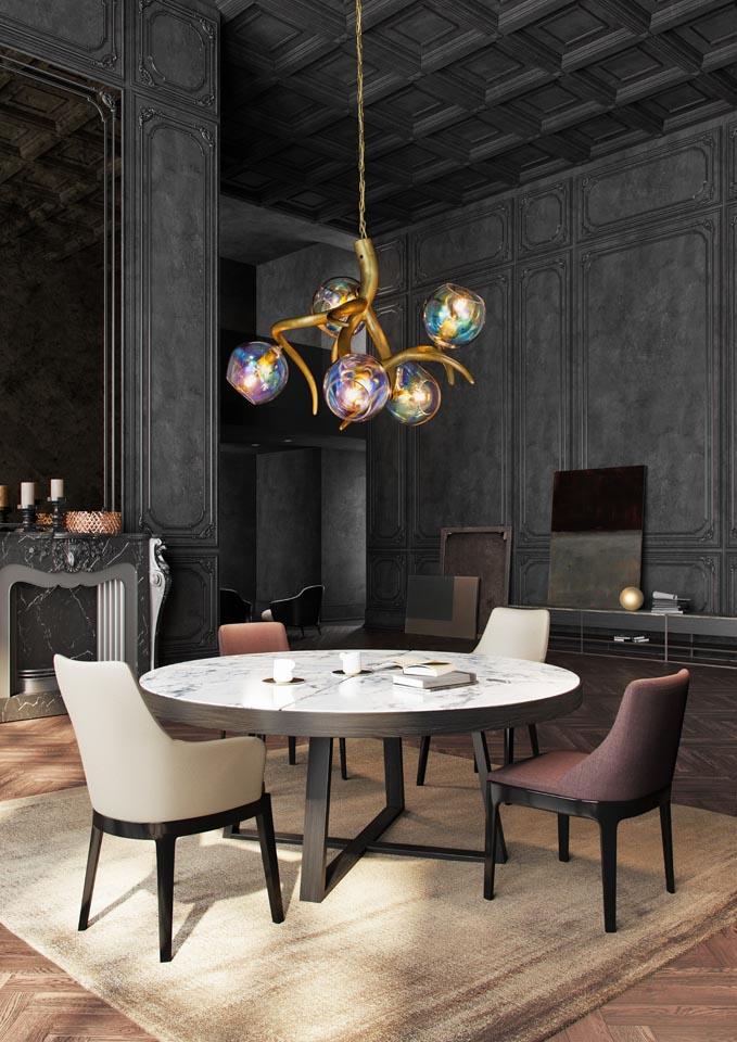 Bombillas Ersa collection chandelier brass burnished