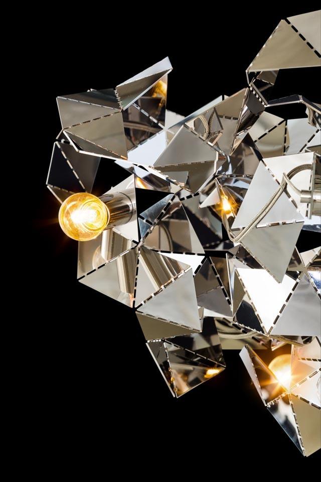 Bombillas fractal Kronleuchter rund silber glänzend