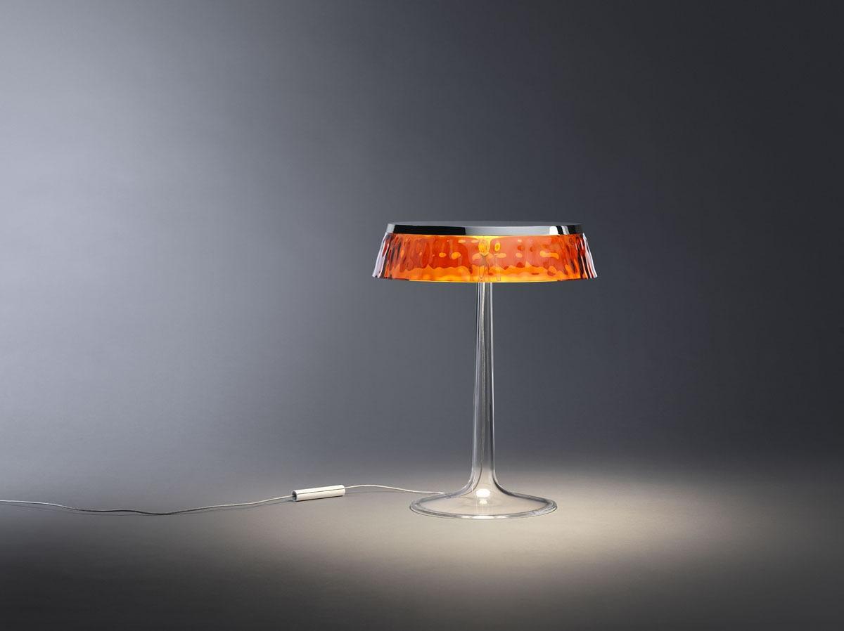 Bombillas Bonjour Tischleuchte mit transparentem orangefarbenem Schirm