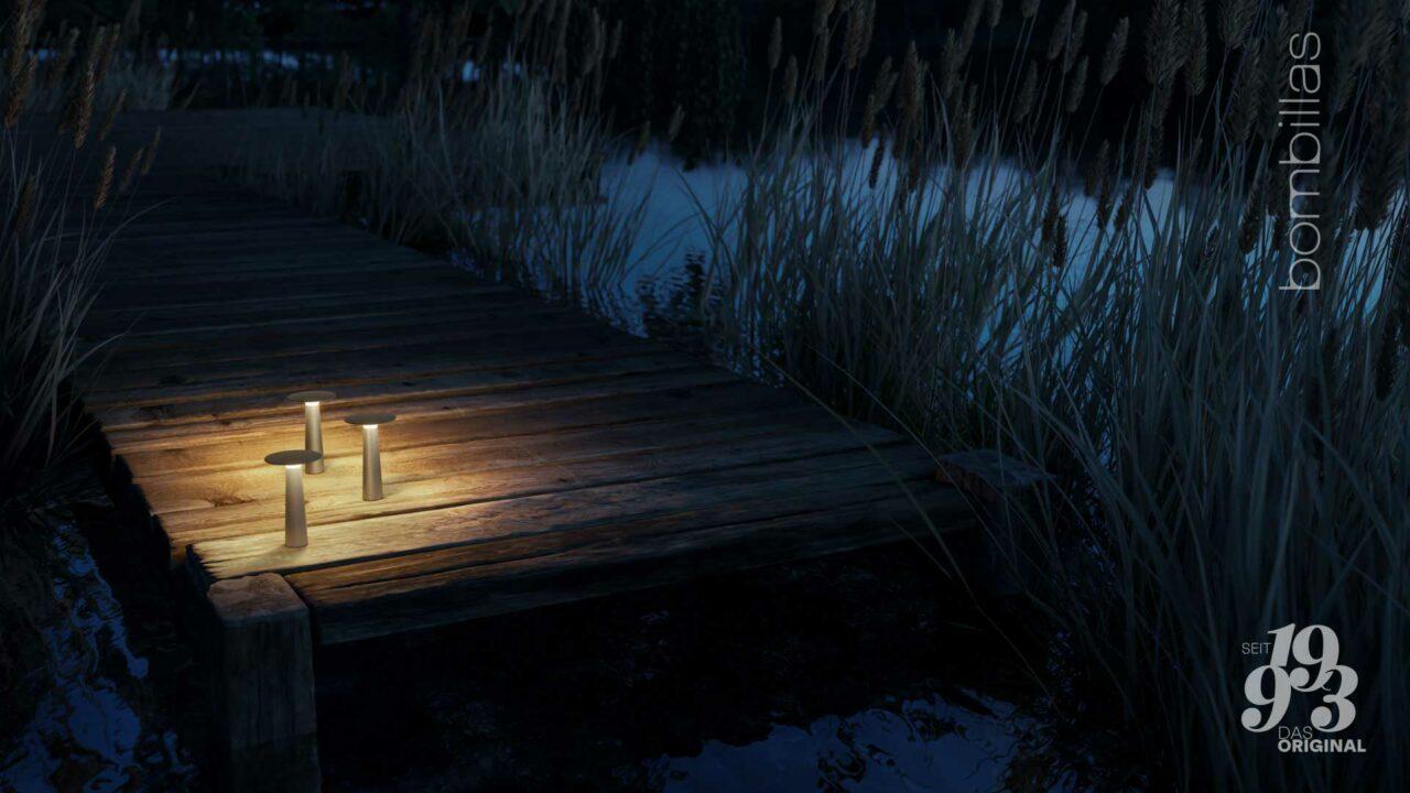 Akku-Leuchte kabellos für draußen - Sommerangebot Bombillas Rosenheim am See
